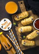 Halloween Food Assortment Top View.