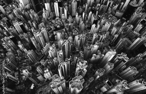 Montage in der Fensternische New York Black and white of aerial view of Hong Kong Downtown. Financial district and business centers in smart city in Asia. Top view of skyscraper and high-rise buildings.