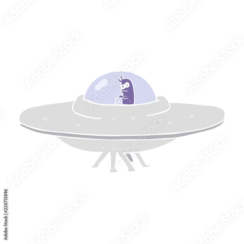 UFO flat color illustration of a cartoon flying saucer