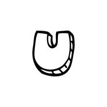 Line Drawing Cartoon Letter U