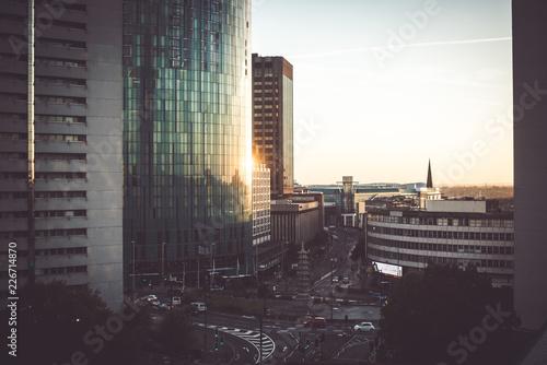Fotografie, Obraz  Birmingham glass buildings panoramic view at sunrise/sunset