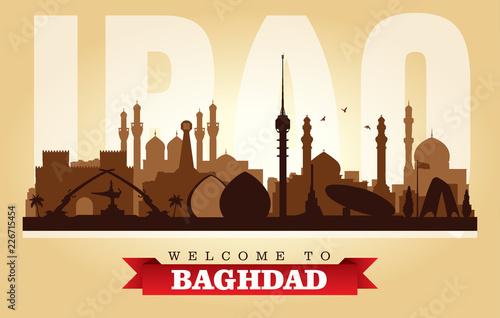 Valokuva  Baghdad Iraq city skyline vector silhouette