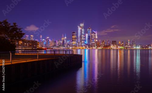 Poster Manhattan at night, View from Hoboken,New York City,USA