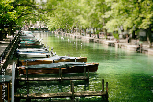 Lovely view of Annecy and resting boats, France Canvas Print
