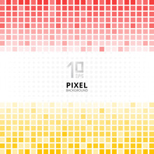 Abstract Pixel Mosaic Red And Yellow Gradient Color On White Background.