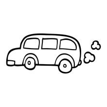Line Drawing Cartoon School Bus