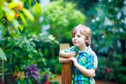 Foto  Little blond preschool kid boy discovering flowers and butterflies at botanic ga