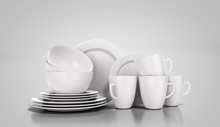 Set Of White Dishes 3d Render On Grey