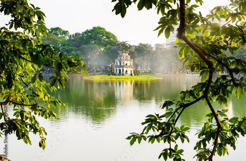 Turtle Tower in Hanoi Hoan Kiem lake in Vietnam