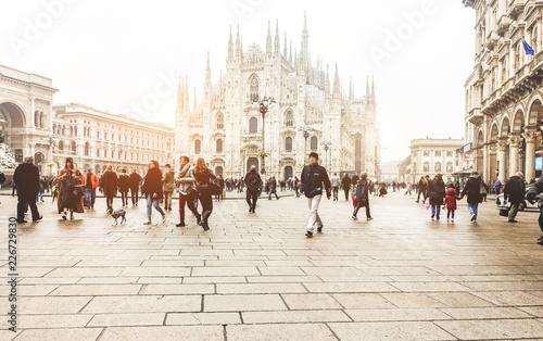Garden Poster Milan Blurred people walking in front of Duomo square in Milan - Defocused crowd on italian metropolis center