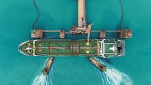 Tug Boats Drag Oil Ship Tanker...