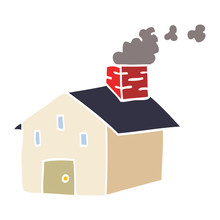 Cartoon Doodle House With Smoking Chimney