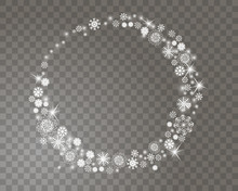 Snowflakes Circle Frame On A Transparent Background For Your Christmas Design. Abstract Snowfall Background With Place For Your Text. Vector Illustration