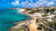 Aerial. Public beach nerar The Scala dei Turchi. Realmonte, near Porto Empedocle, southern Sicily, Italy.