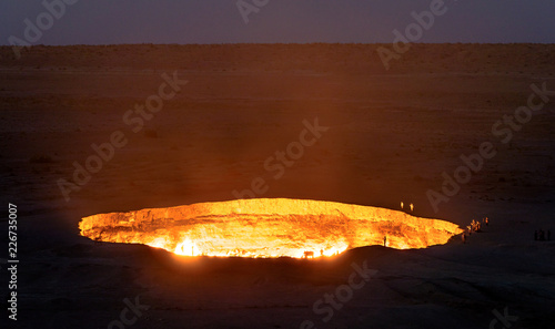 Turkmenistan gates of hell gas crater fire in Karakum desert near Darvaza Canvas Print
