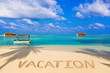 Word Vacation on beach