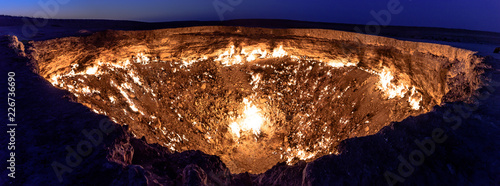 Canvastavla Turkmenistan gates of hell gas crater fire in Karakum desert near Darvaza
