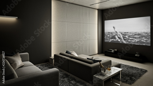 Home Theater room , Modern Luxury interior #2 , 3D render ...
