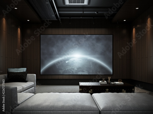 Fotografía  Modern Luxury Home Theater room #2 , 3D render