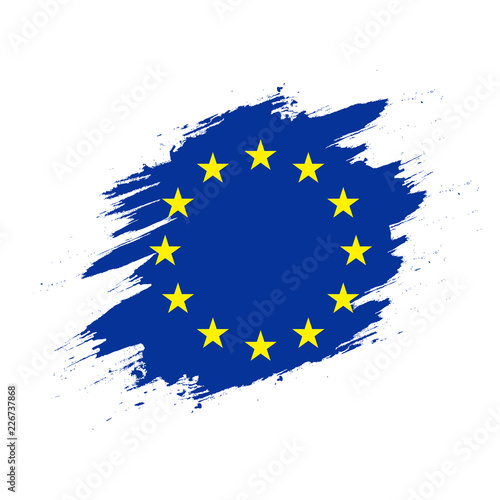 Fototapeta European Union Flag on Paint Trail View obraz