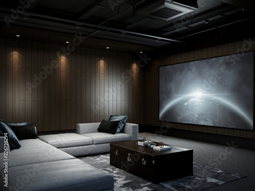 Photographie  Modern Luxury Home Theater room 3D render