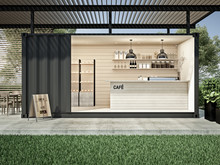 Container Cafe In Garden 3D Render