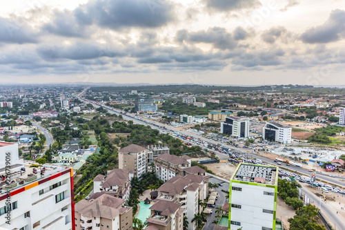 Photo High view point cityscape of Accra, Ghana