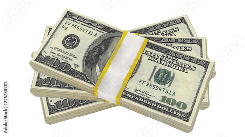 stack of 100 Dollars banknote bill USA money banknote on a white background. Isolated