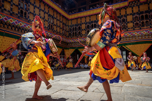 Bhutan Monk dancing for colorful mask dance at yearly Paro Tsechu festival in Bh Canvas Print
