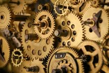 Gears And Cogs Macro In Vintage Old Mechanism
