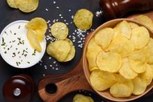 Crispy Potato Chips In Bowl Wi...