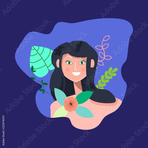 Fotografie, Tablou  Portrait of nice smiling dark-haired woman