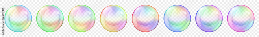 Fototapety, obrazy: Set of translucent colored soap bubbles on transparent background. Transparency only in vector format