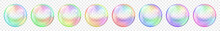 Set Of Translucent Colored Soap Bubbles On Transparent Background. Transparency Only In Vector Format