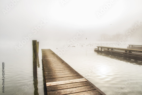 Wooden jetty juts into the Traunsee lake,