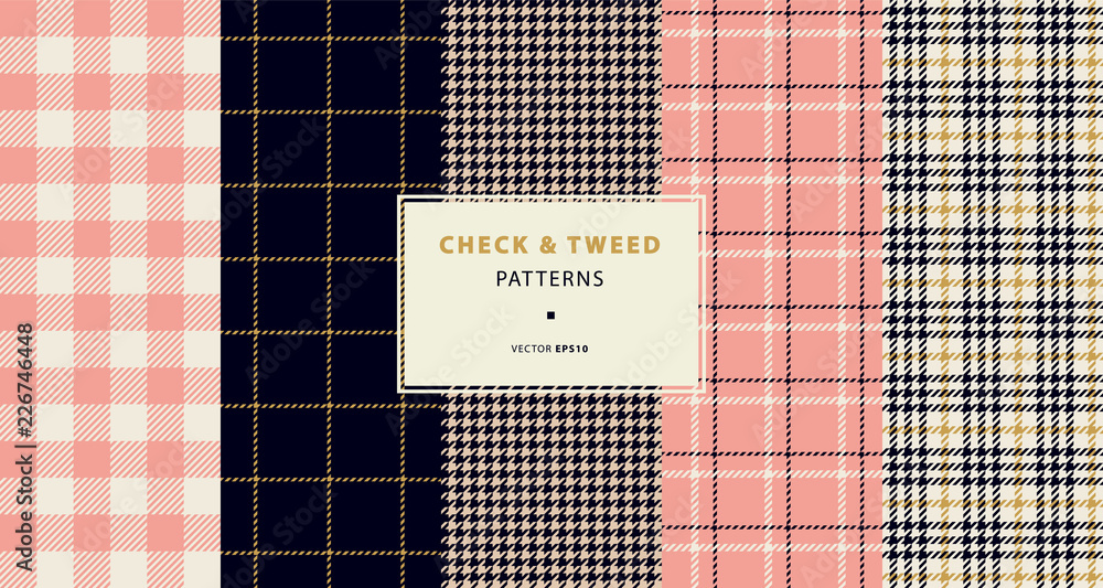 Photo  Check and tweed seamless patterns set