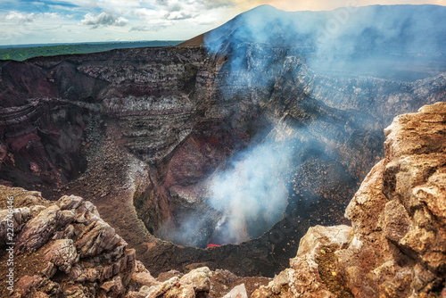 Masaya Volcano National Park in Nicaragua, wide shot of the active volcano with Canvas Print