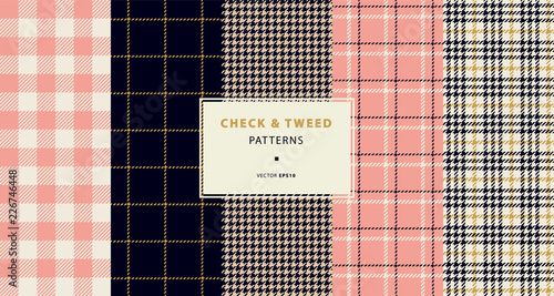 Papiers peints Artificiel Check and tweed seamless patterns set