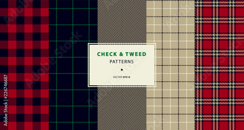 Check and tweed seamless patterns set Canvas Print