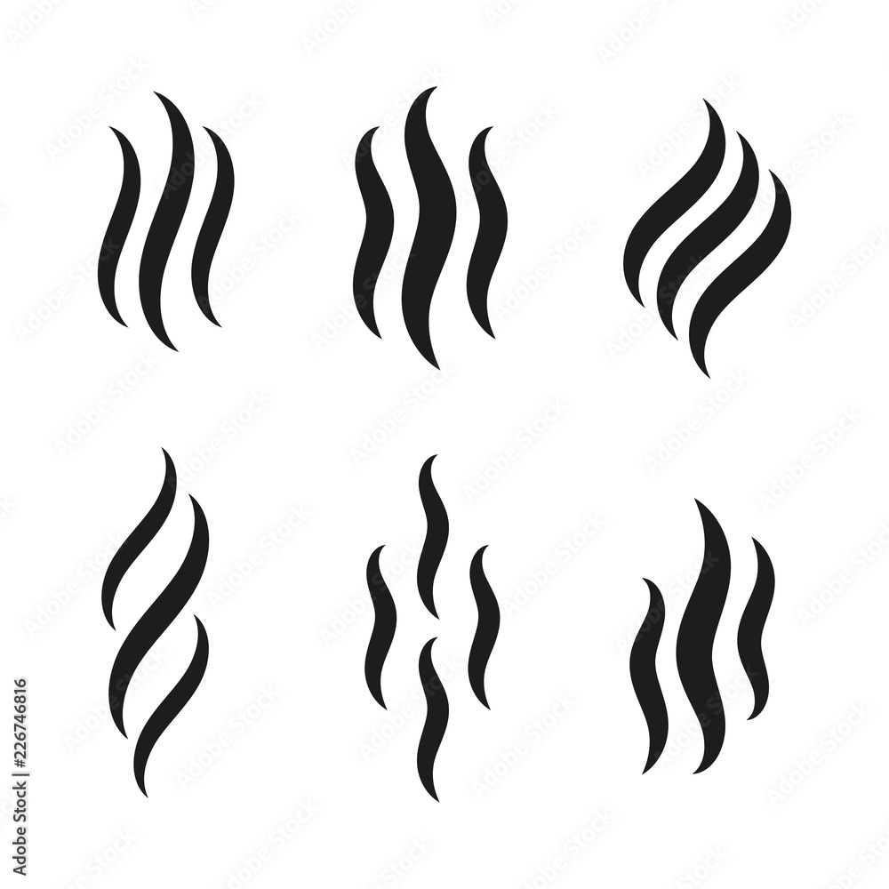 Fototapety, obrazy: Smell icons. Smoke steam silhouette icon illustration