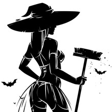 Halloween Pin-up Witch Silhouette