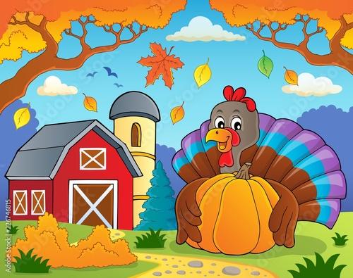 Fotobehang Voor kinderen Turkey bird holding pumpkin theme 4