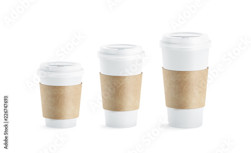 49484fd6a64 Blank white paper cup with craft sleeve holder mockup set, isolated, 3d  rendering.