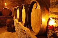 Wine Cellar With Barrels In Wa...