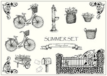 Vector Illustration. Set Of Vector Vintage Objects. Pen Style Images.