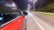 Drivelapse from Side of Car moving on a night highway timelapse hyperlapse