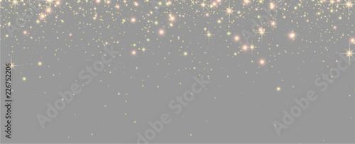 Obraz Grey shiny banner with golden sparkling lights. - fototapety do salonu
