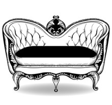 Baroque Sofa Vector. French Luxury Rich Intricate Structure. Victorian Royal Style Decor With Luxurious Ornaments