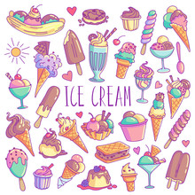 Ice Cream Hand Drawn Colorful Doodle Set. Vector Illustration Isolated On White Background