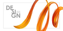 Banner Template With 3d Orange Abstract Brush Stroke Acrylic Paint Shape. Liquid Wave. Trendy Design